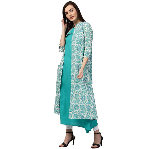 Jacket Style Cotton A-Line Kurti Designer Layered Anarkali Kurtas Layered Kurtas