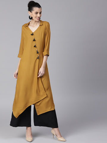 Mustard Color Plain Wrap Kurta
