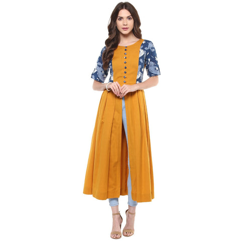 Mustard Front Slit Long Kurta Front Open Cotton Anarkali Kurta
