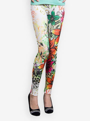 Printed Leggings Multicolor Designer Flower Print Leggings LS37