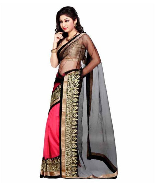Designer Net Sarees Black & Pink Color Half & Half Designer Net Sarees For Women