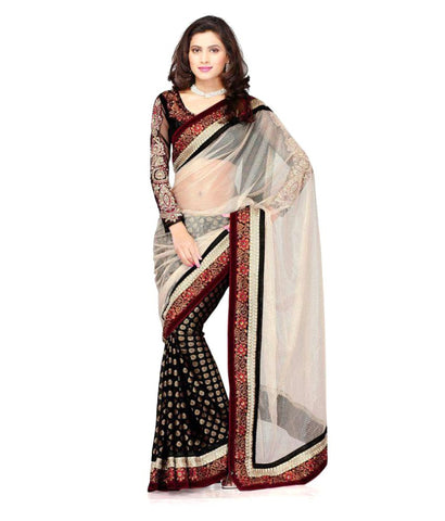 Designer Multicoloured Net Saree Embroiderd Jacquard Fancy White Net Black Saree