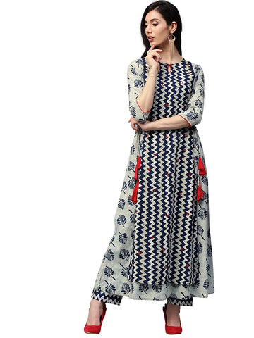 Navy Blue Long Cotton Kurta with Palazzo Designer Layered Anarkali Kurtas