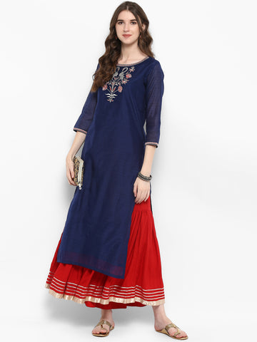 Navy Blue & Red Embroidered Kurta with Skirt