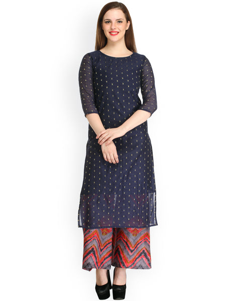 Navy & Grey Plazo Salwar Suits Round Neck Buy Palazzo Suits for Women's