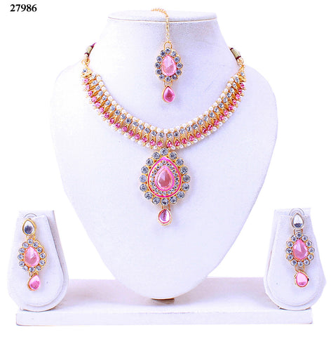 Neck Choker Online Baby Pink Colored Alloy With Moti & Diamond Choker Necklace