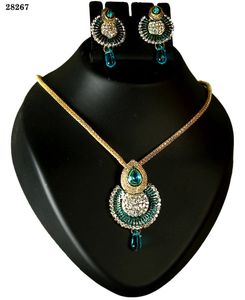 Neck Jewelry Peacock Feather Colored Alloy With Moti & Diamond Opera Necklace