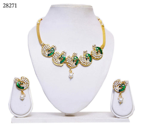 Necklace Online Green Colored Peacock Design Alloy With Moti & Diamond Neck Jewelry