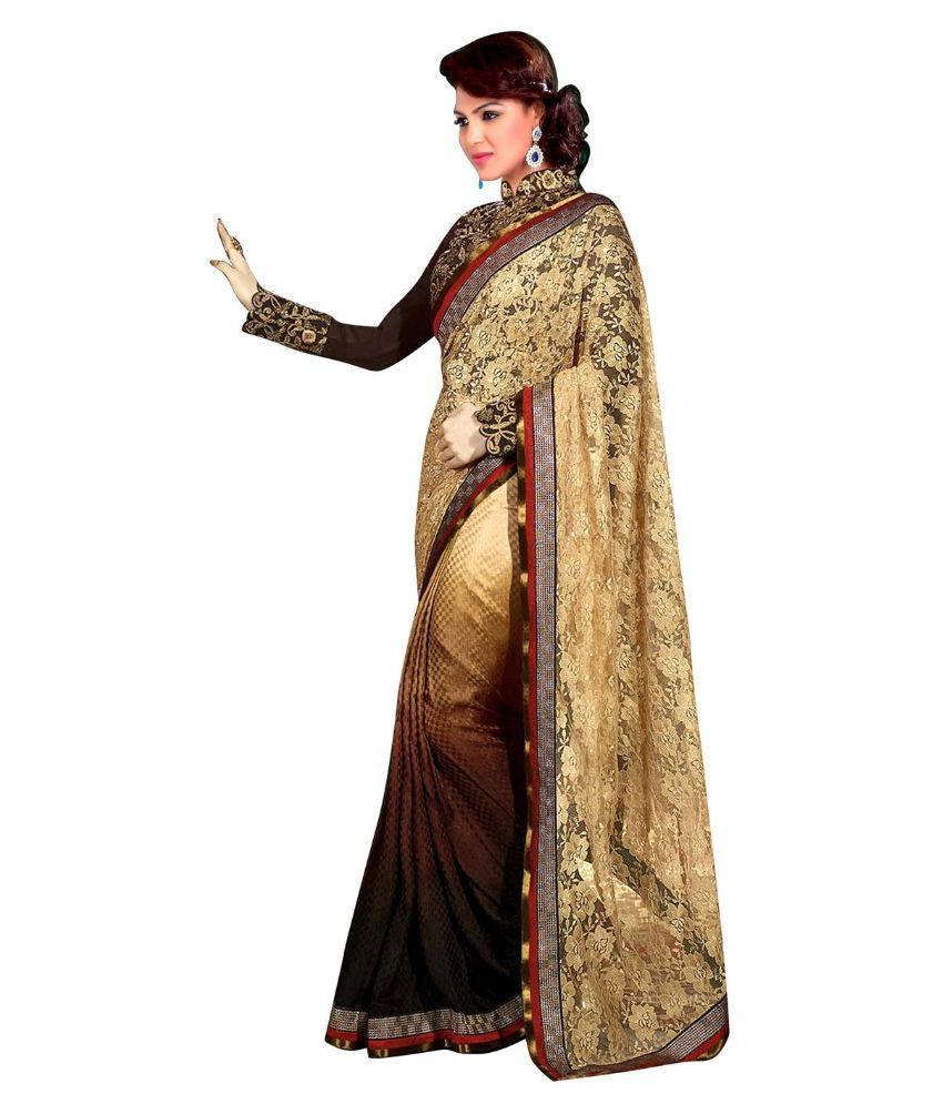 2190e31f998 Purchase Online Golden   Brown Color Net Saree Designed With Heavy  Embroidery   Lace Work – Lady India