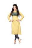 New Year Deals Printed Kurti Light Yellow Long Printed Kurtis