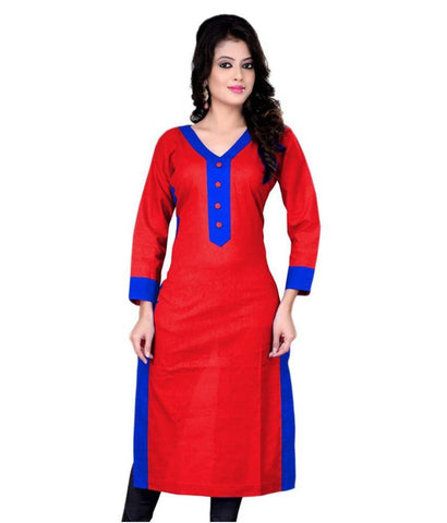Red And Blue Straight Cotton Kurtis Kurtas Plain Casual Cotton Kurtis For Girl