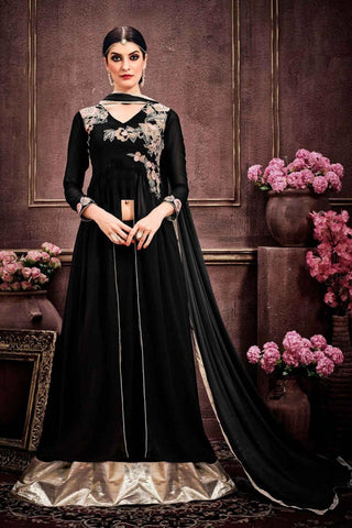 Designer Black Colored Faux Georgette Sharara Lehenga With Thread Embroidery & Stone