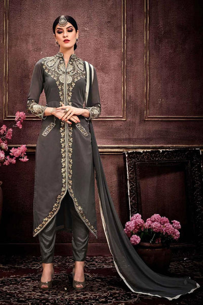 Grey Colored Faux Georgette Thread Embroidery With Stone Semi Stitched Salwar Suit