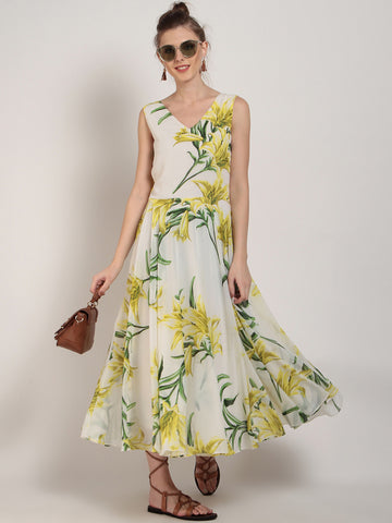 Off-White Floral Printed Maxi Dress