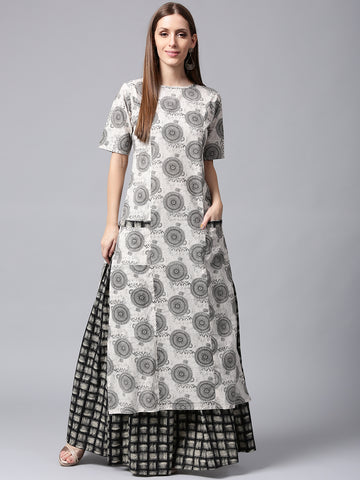 Off-White & Black Printed Kurta Skirt Set for Women