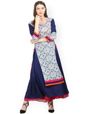 Off-White & Navy Blue Printed Anarkali Kurta Designer Layered Anarkali Kurtas