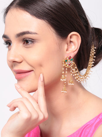 Off-White Gold-Plated Handcrafted Kundan Stone-Studded Jhumki - Jhumka Earring Chain Jewellery Set