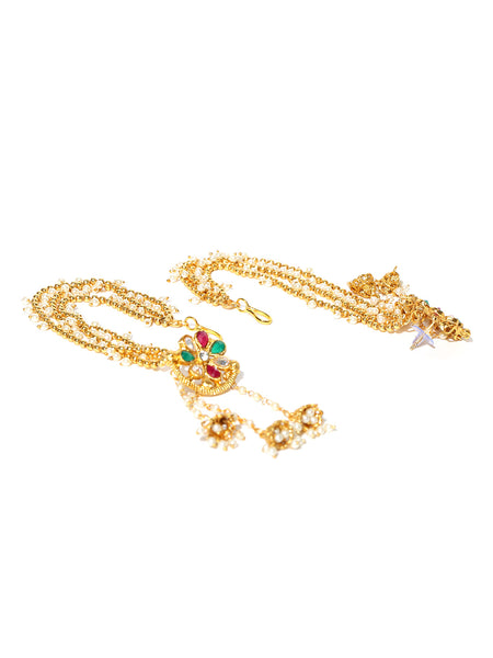 Off White Gold Plated Handcrafted Kundan Stone Studded Jhumki