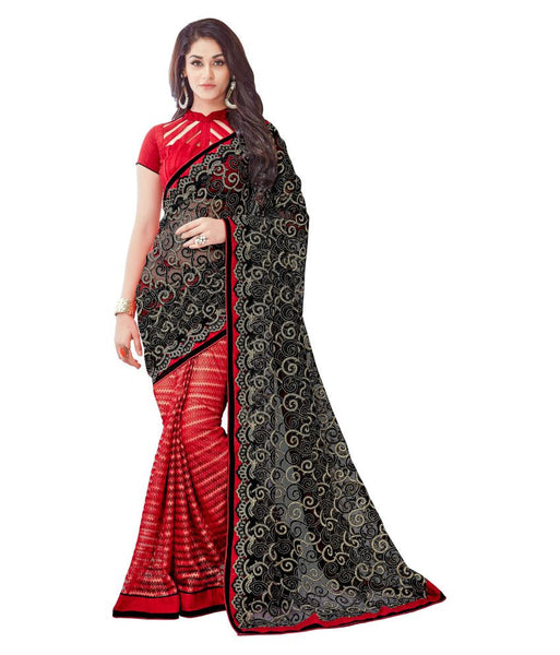 Black & Red Color Net Saree With Lace And Embroidery Work Designer Net Sarees