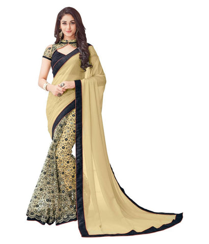 Designer Net Sarees Beige & Black Color Floral Embroidery & Lace Work Net Saree For Women