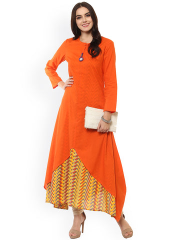 Orange Printed Anarkali Kurta Designer Layered Anarkali Kurtas