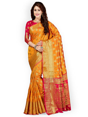 Orange Silk Blend Woven Design Banarasi Silk Saree