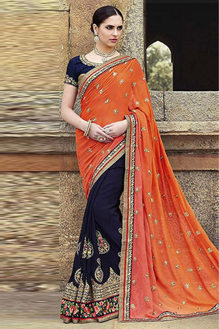 Orange & Navy Blue Color Half N Half Georgette Saree