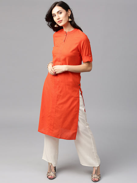 Orange & Off-White Suits With Palazzo Cotton Kurta With Palazzo