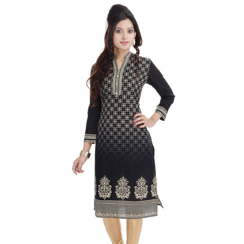 Ethnic Black Straight Cotton Kurtis Printed Long Cotton Kurtis And Kurtas