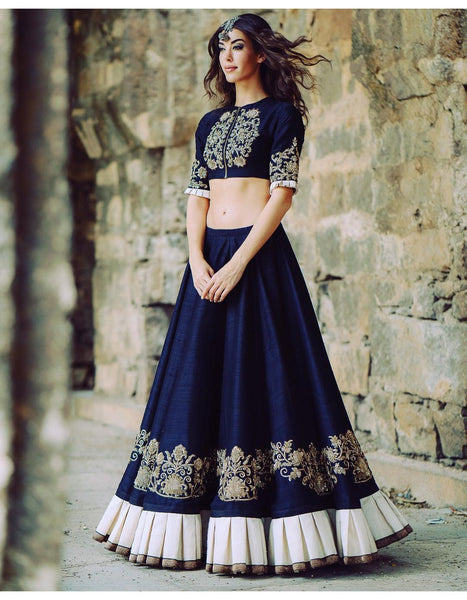 Buy Designer Party Wear Blue & Silver Lehenga Choli Online Bollywood Fashion