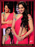 pink-bollywood-georgette-sarees-sonakshi-sinha's-designer-bollywood-sarees-with-golden-lace-border