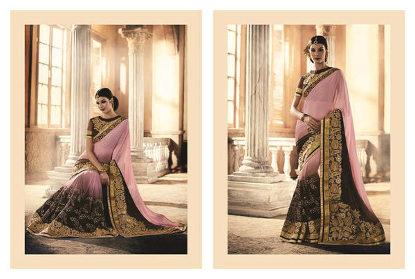 Urban-Naari-Pink-And-Brown-Colored-Georgette-And-Net-Saree