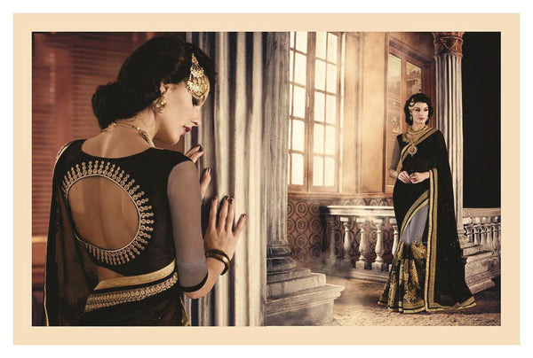 Urban-Naari-Black-And-Grey-Colored-Georgette-And-Net-Saree