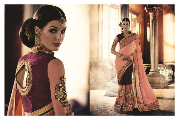 Urban-Naari-Peach-And-Magenta-Colored-Georgette-And-Net-Saree