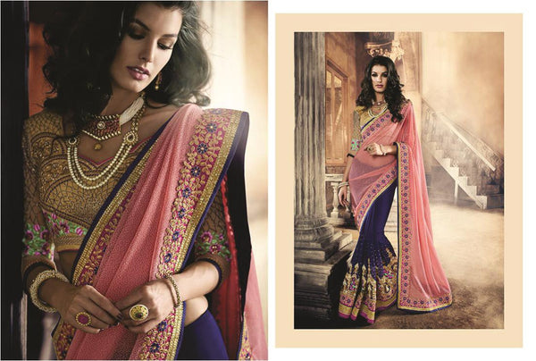 Urban-Naari-Pink-And-Blue-Colored-Lycra-Net-And-Georgette-Saree