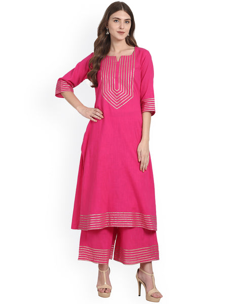 Palazzo Salwar Suits Online Pink Solid Kurta with Palazzos