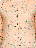 Palazzo Suits Casual Wear Peach Screen Print Kurta With Palazzo