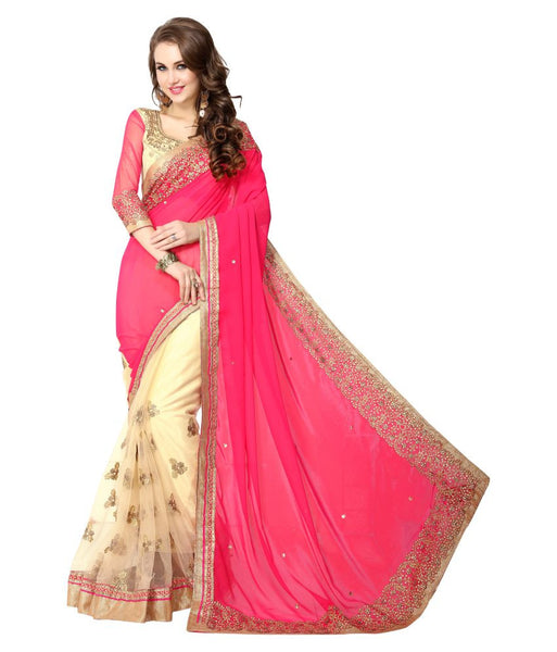 Designer Pink & Cream Georgette Saree Embroidered Border Party Wear Wedding Saree