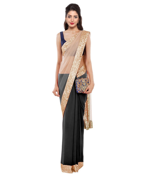 Golden & Black Color Plain Net Saree Designed With Golden Lace Border Work Designer Net Sarees