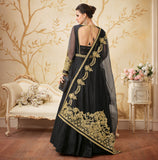 Party Wear Anarkali Suits Black Color Art Silk Semi Stitched Salwar Suit