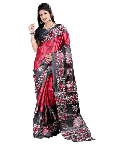 Multicolor Floral Printed Banrasi Art Silk Saree With Blouse Piece