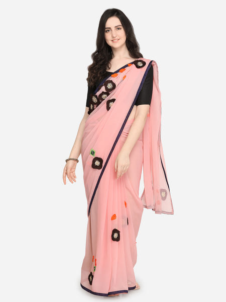 Patch Work Sarees - Pink Woven Design Poly Georgette Saree