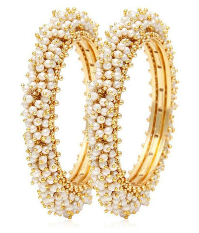 Gold Plated Pearl Studded Bracelet Bangles Set For Women And Girls