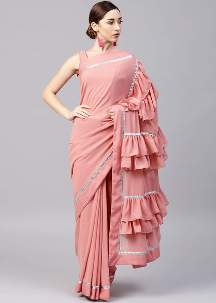 Pink Georgette Ruffle Saree