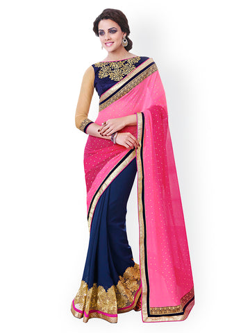 Pink & Blue Georgette Embellished Saree