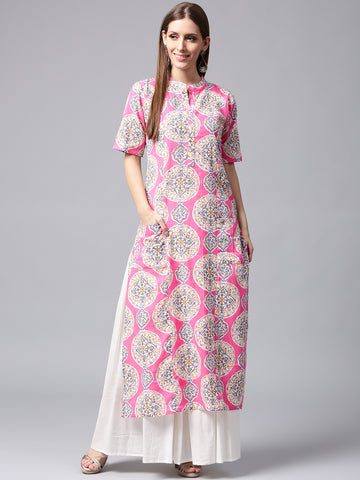 Pink & White Printed Kurta Skirt Set for Women