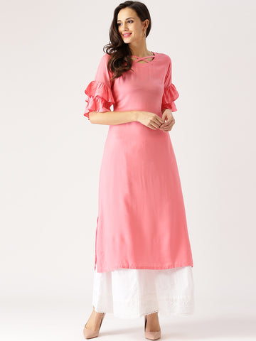Pink Solid Straight Kurta Plain Kurtis Three-Quarter Sleeves Long Kurtas
