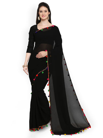 Plain Black Chiffon Saree