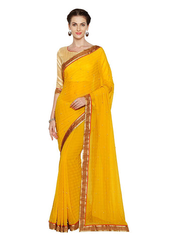 Plain Yellow Chiffon Saree