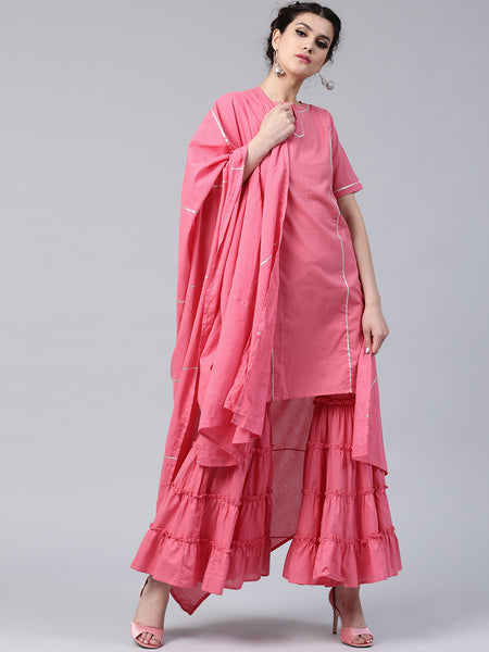 Plain Sharara Suits Pink Solid Kurta Sharara Suits With Long Kameez